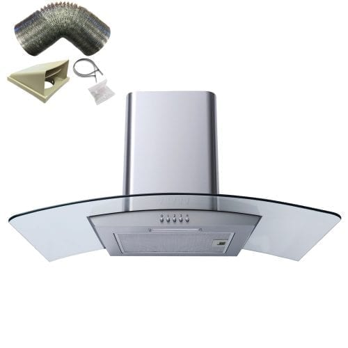 SIA CG91SS 90cm Curved Glass Stainless Steel Chimney Cooker Hood + 3m Ducting