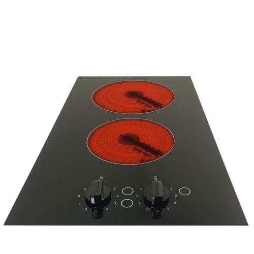 SIA CHC301BL 30cm 2 Burner Domino Ceramic Electric Hob In Black