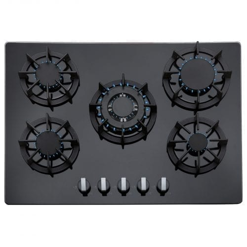 SIA 70cm 5 Burner Black Glass Gas Hob & Multi Colour LED Edge Lit Cooker Hood