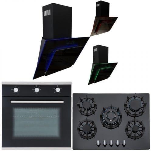SIA 60cm Single Electric Oven, 70cm Black Gas Hob & Multi Colour Cooker Hood