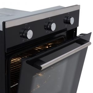 SIA 60cm Black Single Electric True Fan Oven, 70cm Gas Hob & Angled Cooker Hood