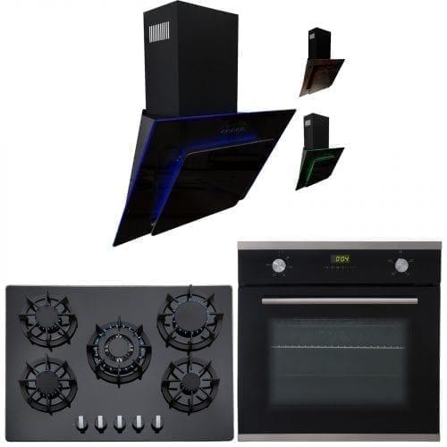SIA 60cm Single Electric Oven, Black 70cm Gas Hob & Multi Colour Cooker Hood