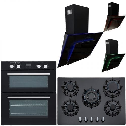 SIA 60cm Double Electric Oven, Black 70cm Gas Hob & Multi Colour Cooker Hood