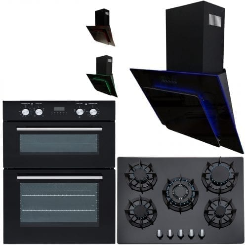 SIA 60cm Double Electric Oven, 70cm Black Gas Hob & Multi Colour Cooker Hood