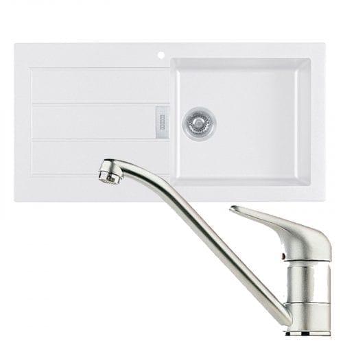Franke Sirius 1.0 Bowl White Kitchen Sink & Clearwater Creta Chrome Swivel Tap