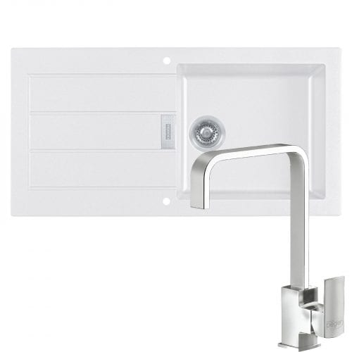 Franke Sirius 1.0 Bowl White Kitchen Sink & Reginox Astoria Chrome U Shaped Tap