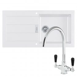 Franke Sirius 1 Bowl White Kitchen Sink & Reginox Brooklyn Swan Neck Chrome Tap