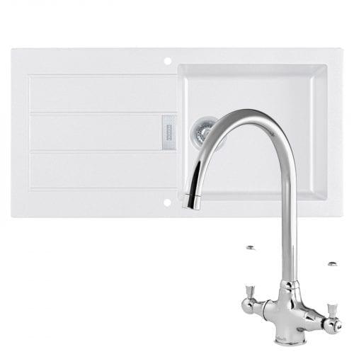 Franke Sirius 1.0 Bowl White Kitchen Sink & Reginox Elbe Swan Neck Chrome Tap