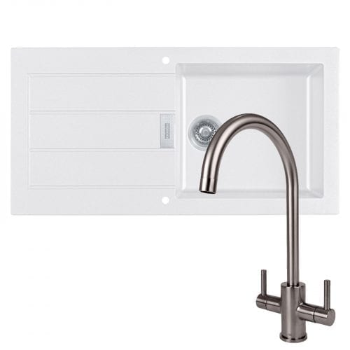 Franke Sirius 1.0 Bowl White Kitchen Sink & Reginox Genesis Swan Neck Steel Tap