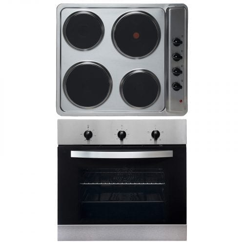 SIA 60cm Single Electric True Fan Oven & Stainless Steel 4 Zone Electric Hob