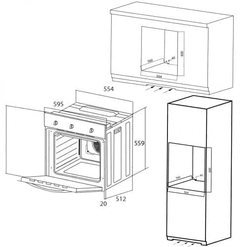 SIA 60cm True Fan Single Oven, Electric 4 Zone Plate Hob & Chimney Cooker Hood