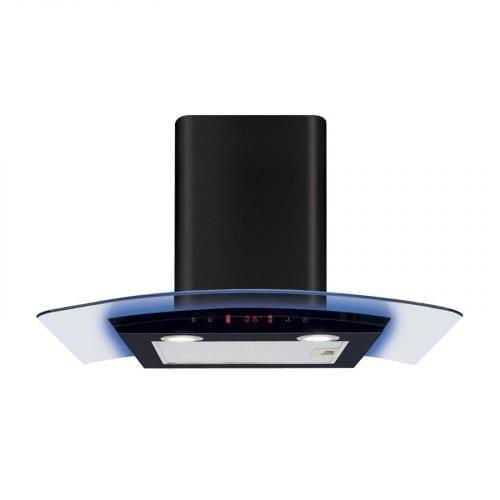 CDA EKP70BL 70cm Multi Colour LED Curved Glass Black Cooker Hood