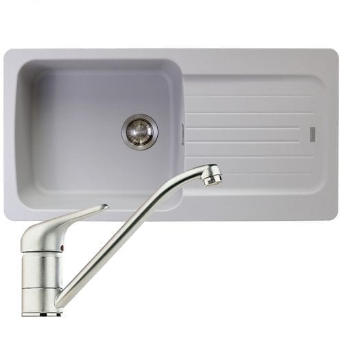 Franke Aveta 1.0 Bowl Stone Grey Tectonite Kitchen Sink & Clearwater Creta Tap