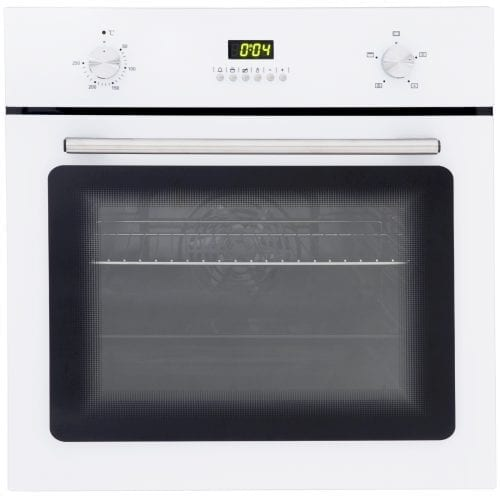 SIA SO102WH 60cm Built In Electric Single Fan Oven In White | Digital Timer
