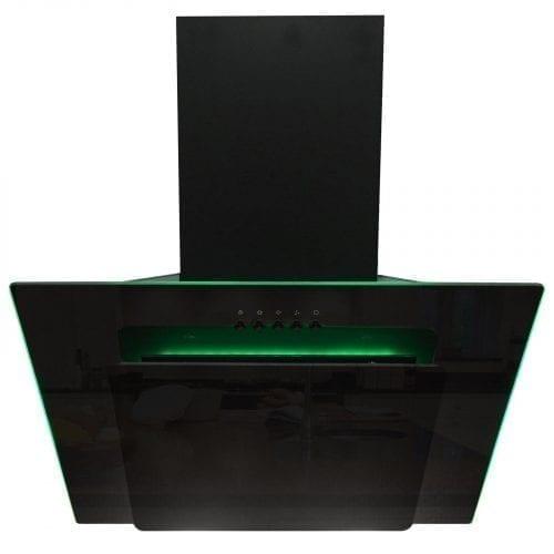 SIA 70cm 3 Colour LED Edge Lit Black Angled Glass Cooker Hood + Charcoal Filter