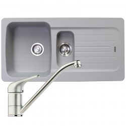 Franke Aveta 1.5 Bowl Stone Grey Tectonite Kitchen Sink And Clearwater Creta Tap