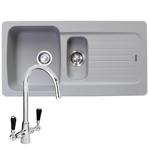 Franke Aveta 1.5 Bowl Stone Grey Tectonite Kitchen Sink & Reginox Brooklyn Tap