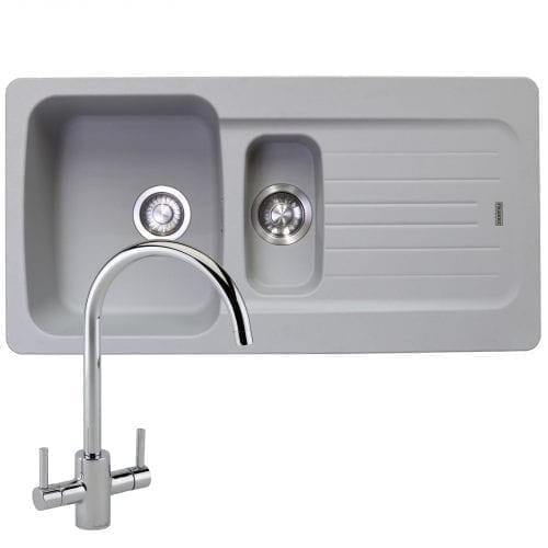 Franke Aveta 1.5 Bowl Stone Grey Tectonite Kitchen Sink & Reginox Genesis Tap