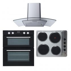 SIA Double Fan Electric Oven, 4 Zone Electric Hob & Curved Glass Cooker Hood