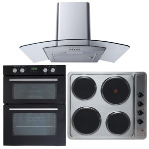 SIA Electric Double Fan Oven, 60cm 4 Zone Electric Hob & Curved Glass Extractor