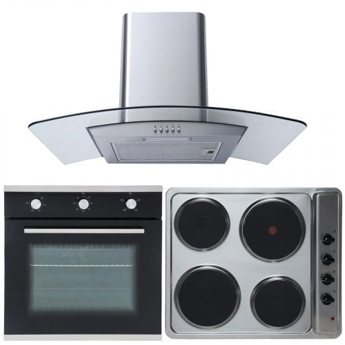 SIA 60cm Single Electric Oven, 4 Zone Electric Hob & Curved Glass Cooker Hood