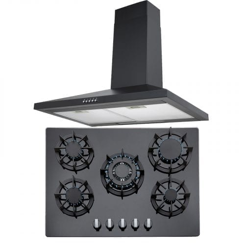 SIA 70cm Black 5 Burner Gas On Glass Hob And Chimney Kitchen Cooker Hood Fan