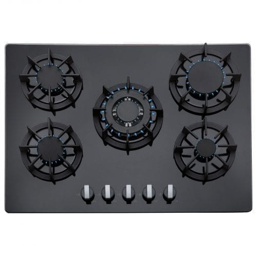 SIA 70cm 5 Burner Black Gas On Glass Hob & Black Chimney Kitchen Cooker Hood