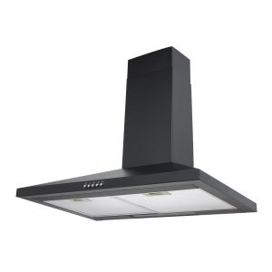 SIA 70cm Black 5 Burner Gas On Glass Hob And Chimney Kitchen Cooker Hood Fan
