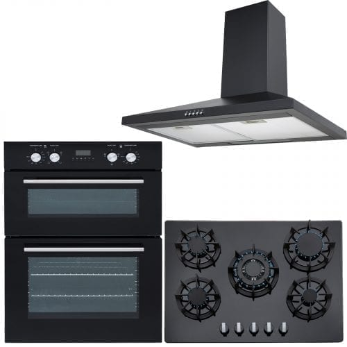 SIA Double 60cm Electric Oven, Black Glass Gas 70cm Hob & Chimney Cooker Hood