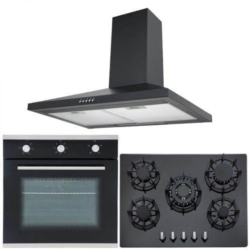 SIA Single 60cm Electric Oven, Black 70cm Glass Gas Hob & Chimney Cooker Hood