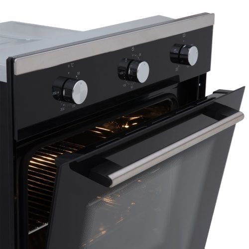 SIA Single 60cm Electric Oven, Black 70cm Glass Gas Hob & Chimney Cooker Hood