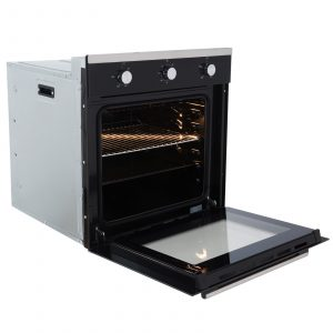 SIA Single Black 60cm Electric Oven, 70cm Glass Gas Hob And Chimney Cooker Hood