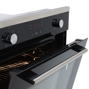 SIA 60cm Black Single Electric Oven, 70cm Glass Gas Hob And Chimney Cooker Hood