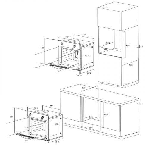 SIA 60cm Single Electric Oven, Black Glass 70cm Gas Hob & Chimney Cooker Hood