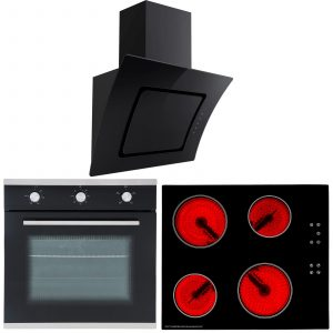 SIA 60cm Single Electric Oven, Black Ceramic Hob & Glass Cooker Hood Extractor