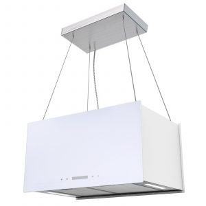 SIA IEX60WH 60cm White Lantern Island Touch Control Cooker Hood Extractor