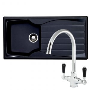 Astracast Sierra 1.0 Bowl Black Kitchen Sink And Reginox Brooklyn Swan Neck Tap