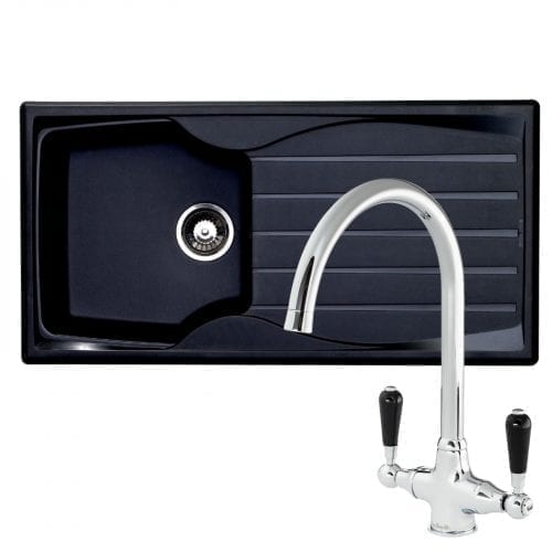 Astracast Sierra 1.0 Bowl Black Kitchen Sink & Reginox Brooklyn Chrome Swan Tap