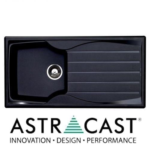 Astracast Sierra 1.0 Bowl Black Kitchen Sink & Astracast TP0800 Chrome Mixer Tap