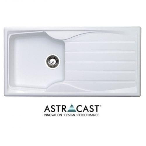 Astracast Sierra 1.0 Bowl White Kitchen Sink & Clearwater Creta Chrome Mixer Tap