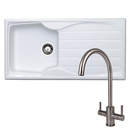 Astracast Sierra 1.0 Bowl White Kitchen Sink & Reginox Brushed Steel Mixer Tap