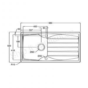 Astracast Sierra 1.0 Bowl White Kitchen Sink & Astracast TP0800 Chrome Mixer Tap