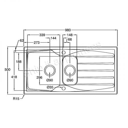 Astracast Sierra 1.5 Bowl White Kitchen Sink & Astracast TP0800 Chrome Mixer Tap