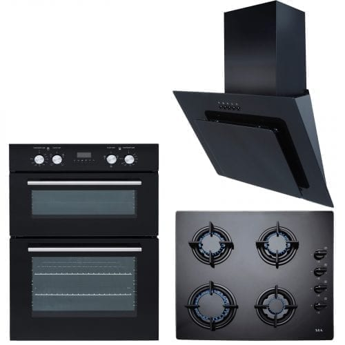 SIA Built In Electric Double Oven, 60cm Black Gas Hob & 60cm Angled Cooker Hood