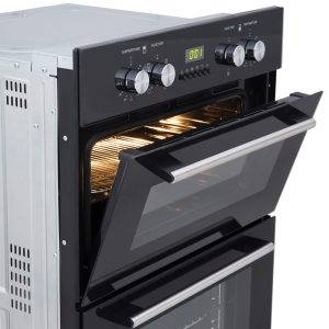 SIA Built In Electric Double Oven, 60cm Angled Cooker Hood & 60cm Black Gas Hob
