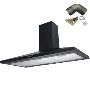 SIA CH101BL 100cm Black Chimney Cooker Hood Extractor Fan And 1m Ducting Kit