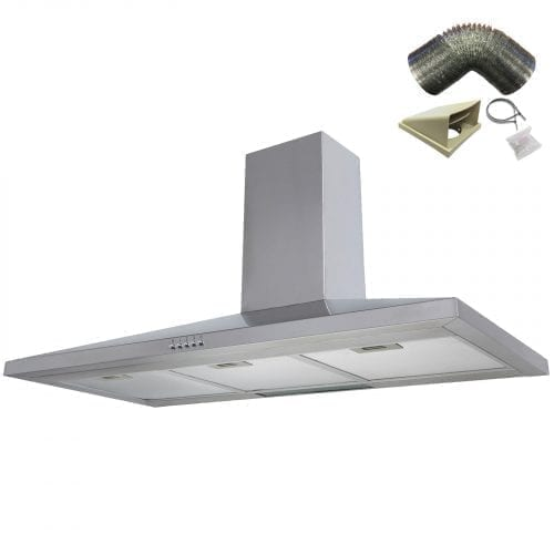 SIA CH101SS 100cm Stainless Steel Chimney Cooker Hood Extractor + 3m Ducting Fan