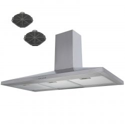 SIA CH101SS 100cm Stainless Steel Chimney Cooker Hood Extractor & Carbon Filters