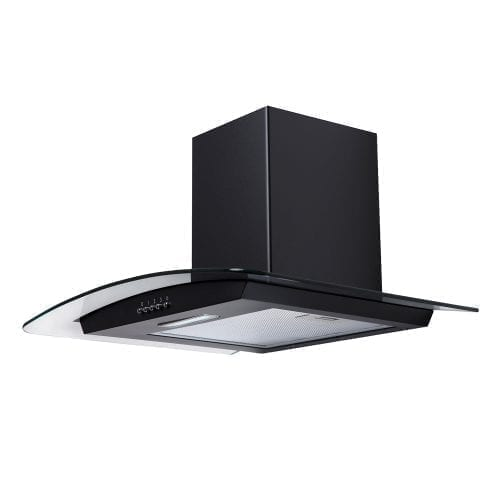 SIA CG61BL 60cm Curved Glass Black Chimney Cooker Hood Extractor Fan