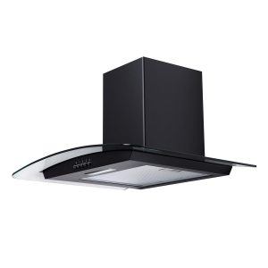 SIA CG61BL 60cm Black Cooker Hood Curved Glass Extractor Fan And 1m Ducting
